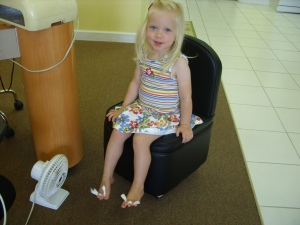 Clare's first pedicure